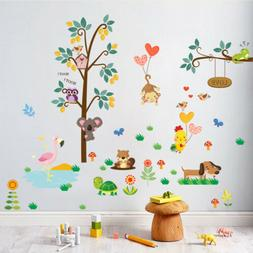 owl animal wall stickers jungle zoo tree nursery baby kids r