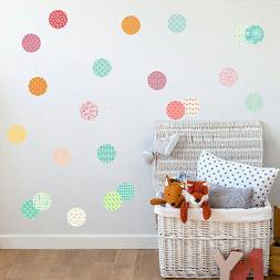 Pack of 54 Pattern Dots Circle Wall Stickers Kids Nursery Vi