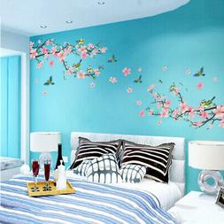 Peach Flower Branch Birds Wall Stickers Nursery Kids Bedroom