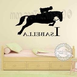 Personalised Name & Horse Wall Stickers, Boys Girls Bedroom