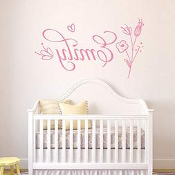 Personalized Girls Name Decal Flower Wall Decal Baby Girl Nu