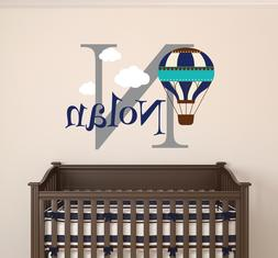 Personalized Hot Air Balloon Name Wall Decal Nursery Clouds