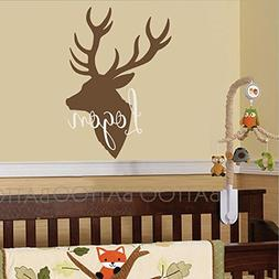 BATTOO Personalized Name Wall Decal Deer Head Sticker - Wall