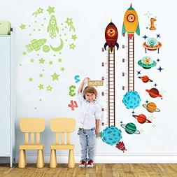 OurWarm Planets Rocket Wall Sticker Baby Height Growth Chart