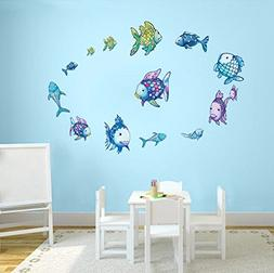 DecalMile Rainbow Fish Wall Stickers Ocean Wall Decals Remov