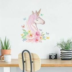 Rainbow Unicorn Flowers Wall Sticker Girl Bedroom Nursery Wa