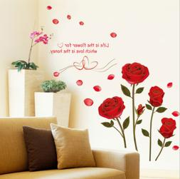Red Rose Wall Decal Mural Removable Flowers Wall Sticker Vin