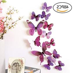 48 PCS Removable 3D Butterfly Wall Stickers Decals DIY Wall