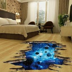3D Space Galaxy Star Planets Universe Removable Wall Floor S