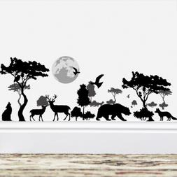 Amaonm Removable Black Tree Animals Wall Sticker Home Wall A