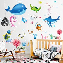 Removable Cartoon Decorative 3D Under the Sea Wall Stickers