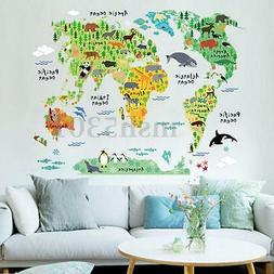 Removable DIY Animal World Map Wall Decal Art Sticker Kids N