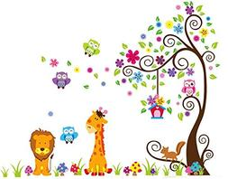 LiveGallery Removable DIY Colorful Tree & Jungle Animals The