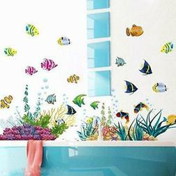 Amaonm Removable DIY Under the Sea Wall Decals Blue Grass an