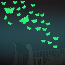 Amaonm 12 PCS Removable Glow In The Dark Green Butterfly Wal