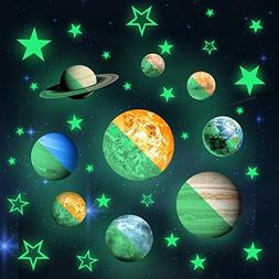 36pcs Removable Glow in the dark Planet Wall Stickers 9pcs w