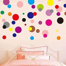LiveGallery 120pcs Removable Multi-color Polka Dot Wall Deca