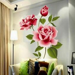 Removable Rose Flower Wall Stickers Mural DIY Art Decal Home