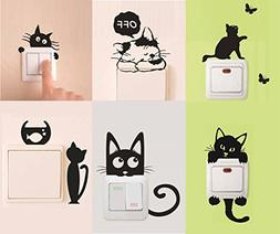 Removable Switch Sticker, 6 Pcs Cute Black Cats Cartoon Wall