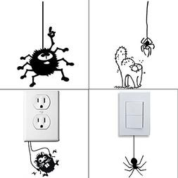 Removable Switch Sticker, 4 Pcs Cute Spiders Cartoon Wall St