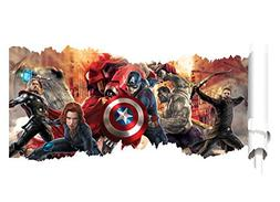 Removable 3D View The Avengers Captain America Art Mural Vin