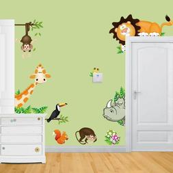 Removable wall Stickers Baby Nursery Room Jungle Animals New
