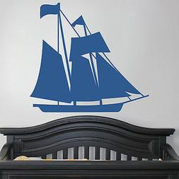 Sail Boat Nautical - Wall Vinyl Decal Sticky Family Kid Room