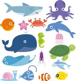 Sea Creatures Bedroom wall stickers Vinyl Graphics Baby Nurs