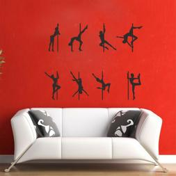 Sexy Girl Pole Dancing Figure Wall Stickers Art Decal Dance