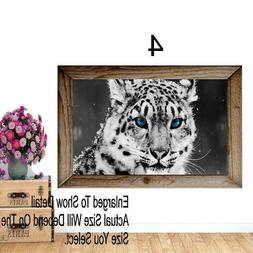 Snow Leopard Animal Blue Eyes Winter Window View Decal WALL