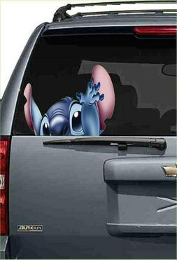 Stitch peeking lilo Hawaii hula car Window View Wall Sticker