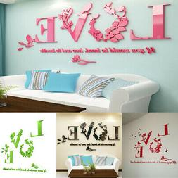 Stylish Removable 3D Leaf LOVE Wall Sticker Art Vinyl Decals