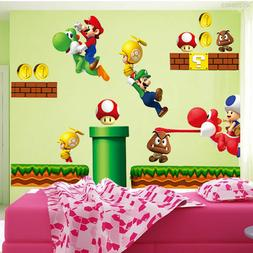Super Mario Bros Mural Wall Decals Sticker Kids Room Drawers
