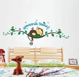 Sweet Dream Monkey Removable Wall Sticker Decal Kid Baby Nur