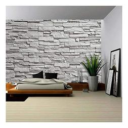 wall26 - The Gray Modern Stone Wall - Removable Wall Mural |