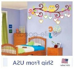 Tree Owl Branch Wall Stickers Removable Baby Nursery Kid Roo