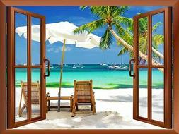 Wall26 - Tropical Beach Scenery Removable Wall Sticker / Wal