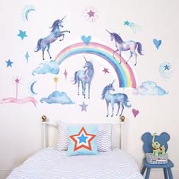 Unicorn Rainbow Cloud Star Heart Wall Decal Wall Sticker Kid