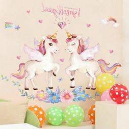 Unicorn Wall Stickers for Kids Rooms Animals Cartoon Girls B