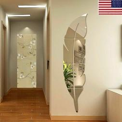 US 3D DIY Removable Feather Mirror Home Room Decal Vinyl Art