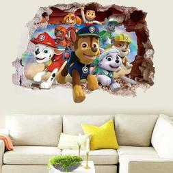 US 3D Wall Stickers Paw Patrol Kids Cartoon Room Decal Wallp