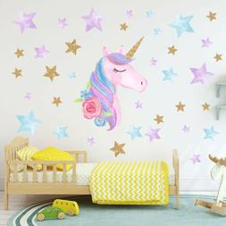 Rainbow Unicorn Wall Sticker Girls Bedroom Wall Decal Art Nu