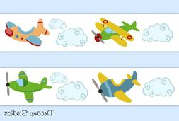 Vintage Airplane Wallpaper Border Wall Art Decals Boy Nurser