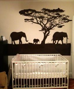 Vinyl Wall Decal Sticker Safari Theme Elephant Family #OS_AA