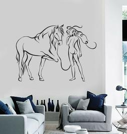 Vinyl Wall Decal Woman with Horse Bedroom Decorating Art Sti