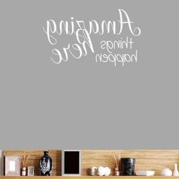 BIBITIME Wall Decal Quotes Amazing Things Happen Here Saying