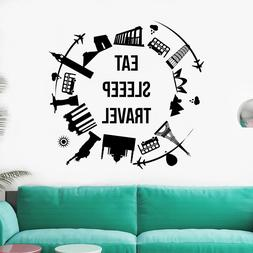 Wall Decal World Map Decal Quote Vinyl Eat Sleep Travel Nurs