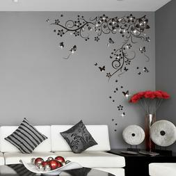 Walplus Wall Sticker Black Butterfly Vine with Swarovski Cry