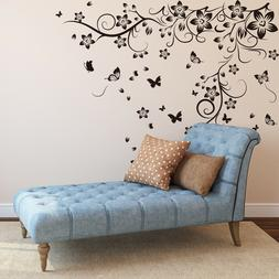 Walplus Wall Sticker Black Flower Vine with Butterfly Art De