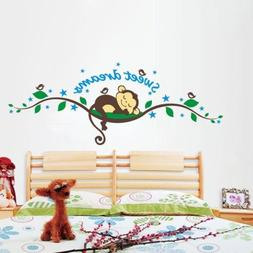 Wall Sticker Decal Sweet Dream Monkey Removable Kid Baby Nur